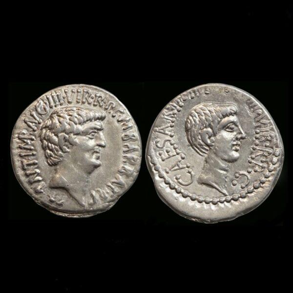Denarius with Marcus Antonius and Octavianus