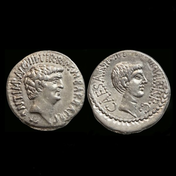 Denarius with Marcus Antonius and Octavianus