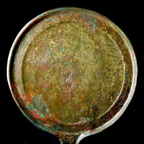 Etruscan Bronze Mirror close