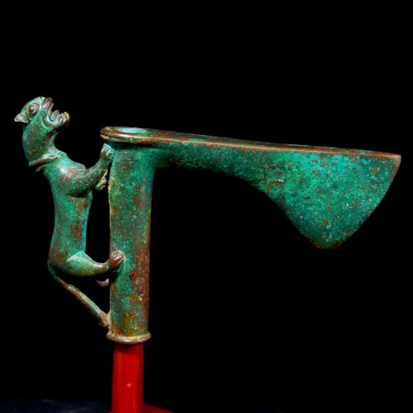 Axe Head with Solid Bronze Lion