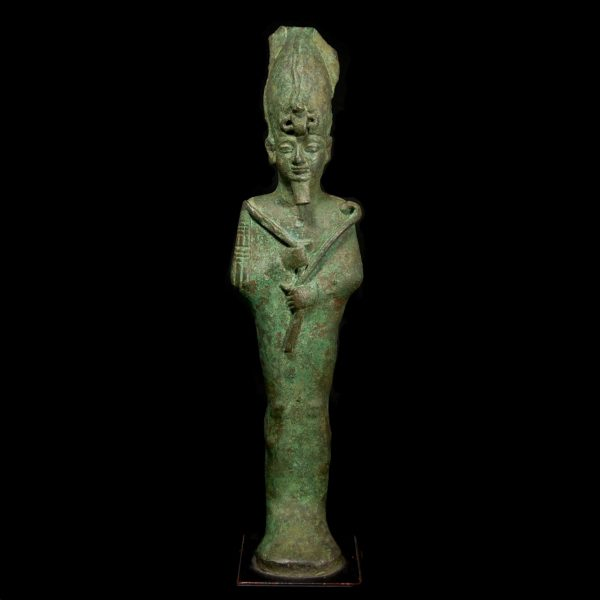 Large Egyptian Bronze Statuette of Osiris