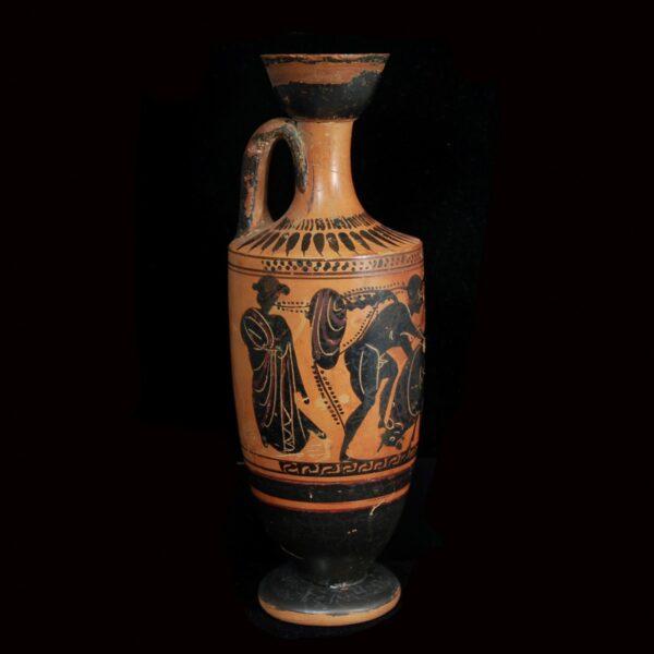 Black-figured Lekythos with Herakles and the Cretan Bull