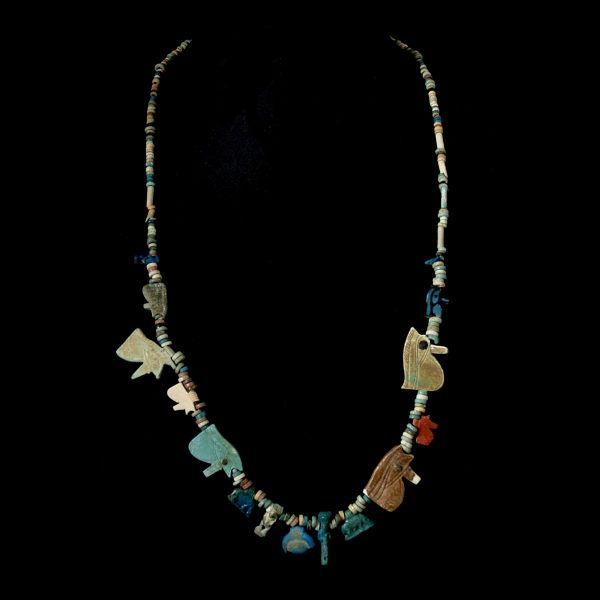 Egyptian Necklace with Eyes of Horus and Amulets