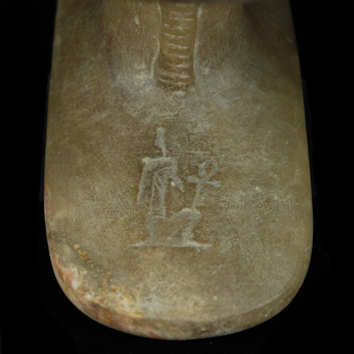 Egyptian Alabaster Headrest Detail Maat