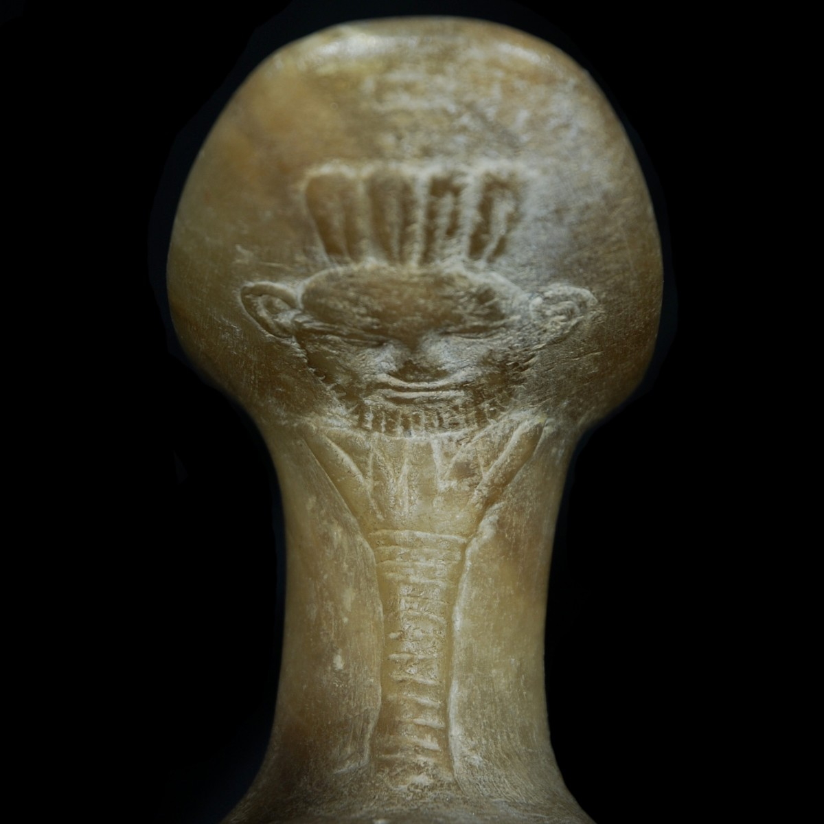 Egyptian alabaster Headrest Detail Bes I