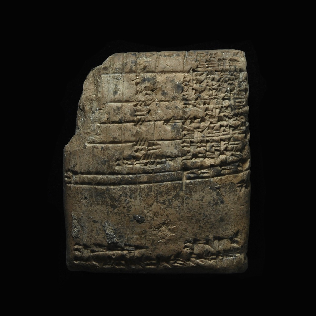 Old babylonian cuneiform tablet Medum back