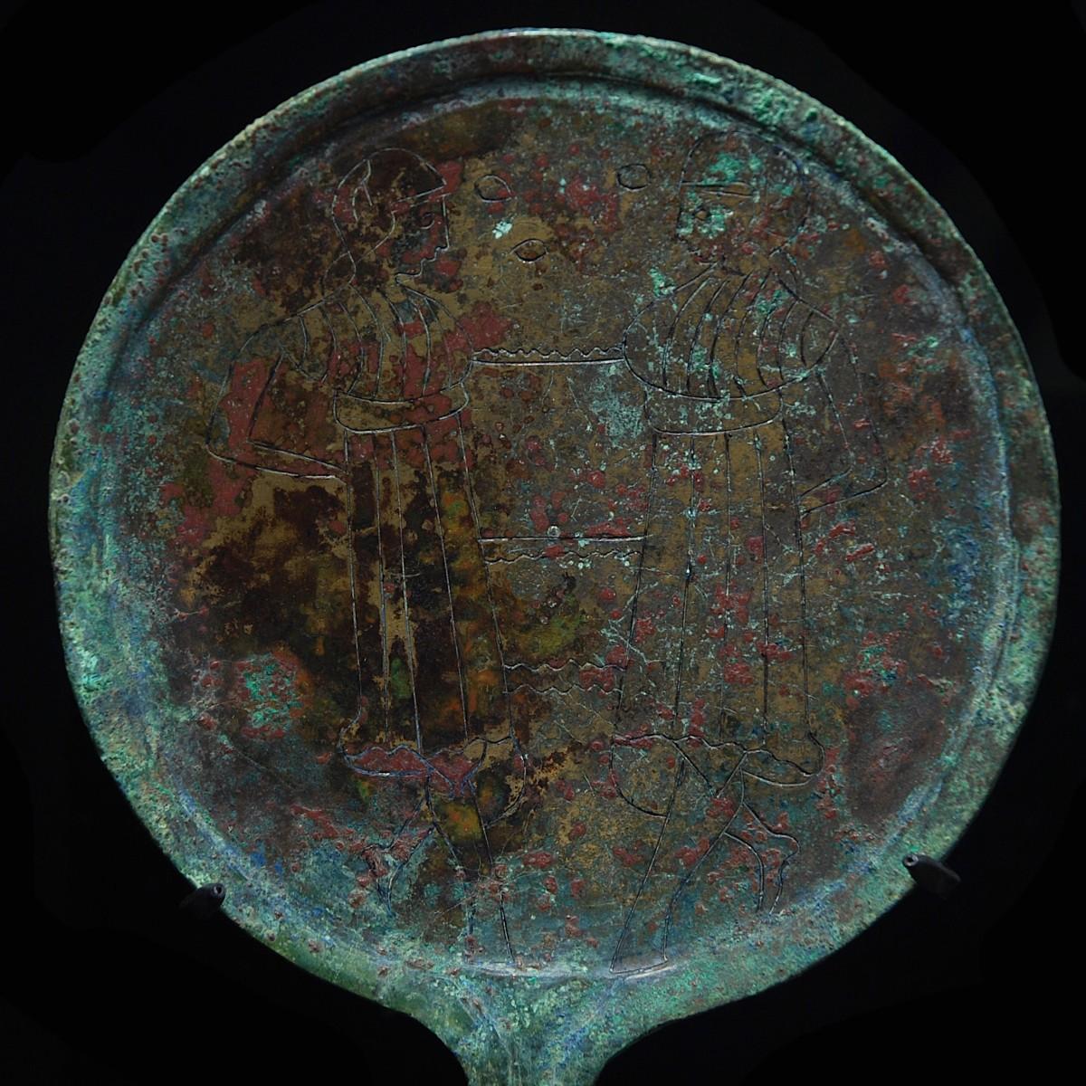 Etruscan bronze mirror detail