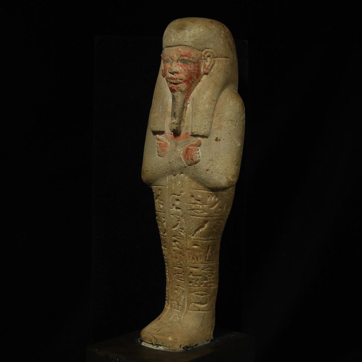 Limestone shabti Chnumhotep half left