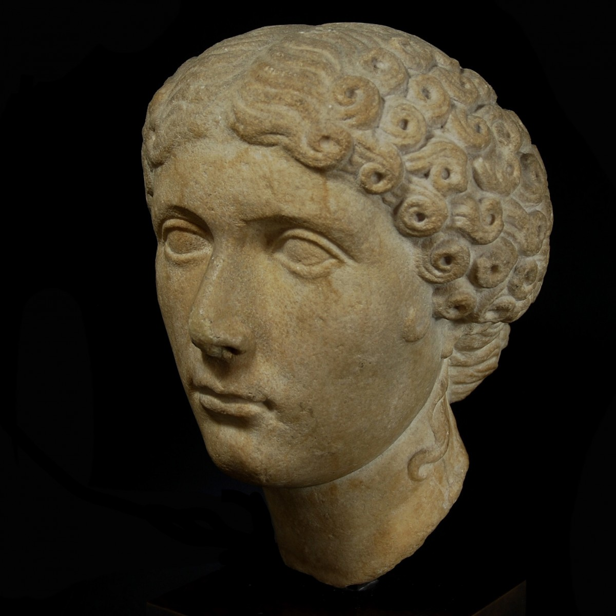 Roman marble portrait of Agrippina Minor half left
