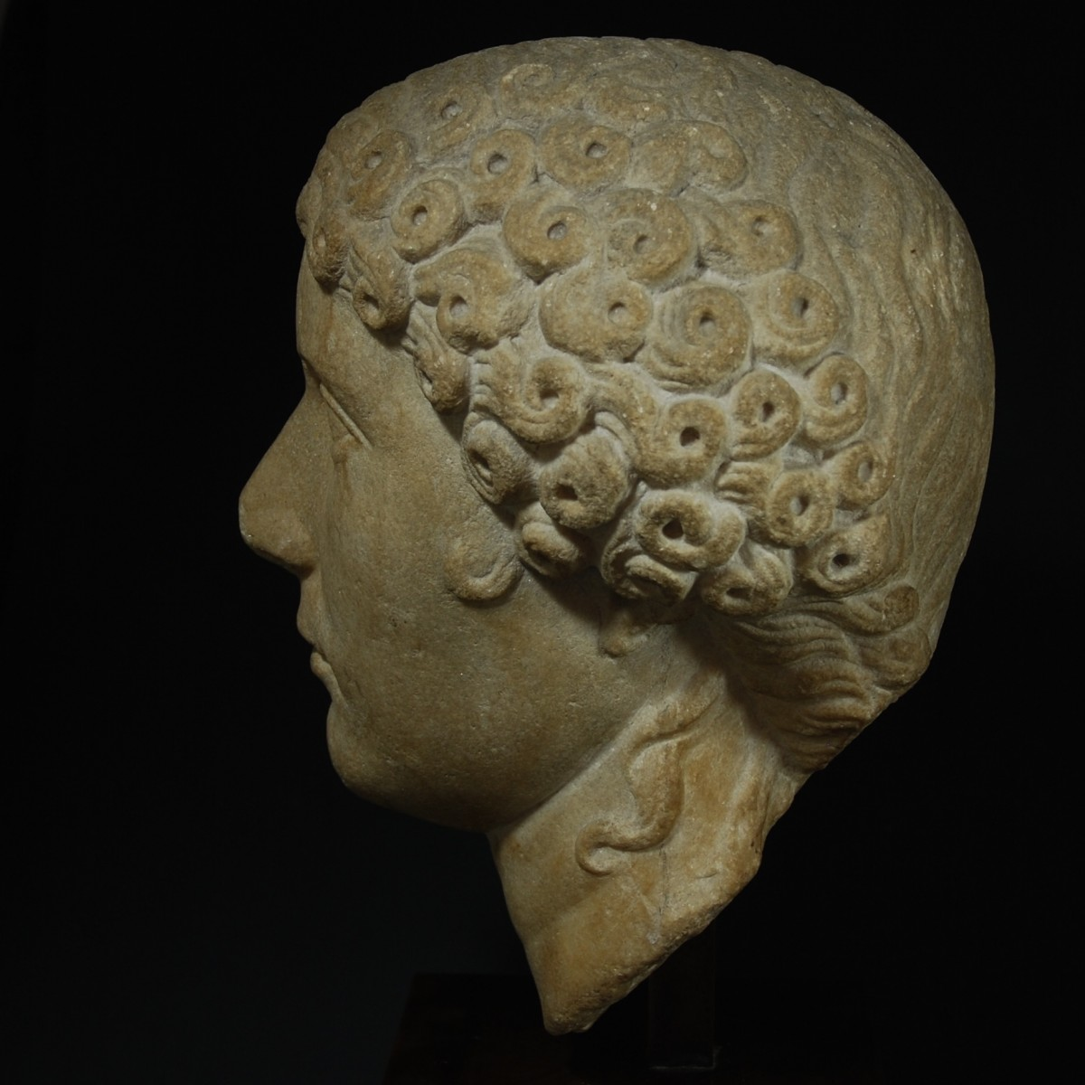 Roman marble portrait of Agrippina Minor left