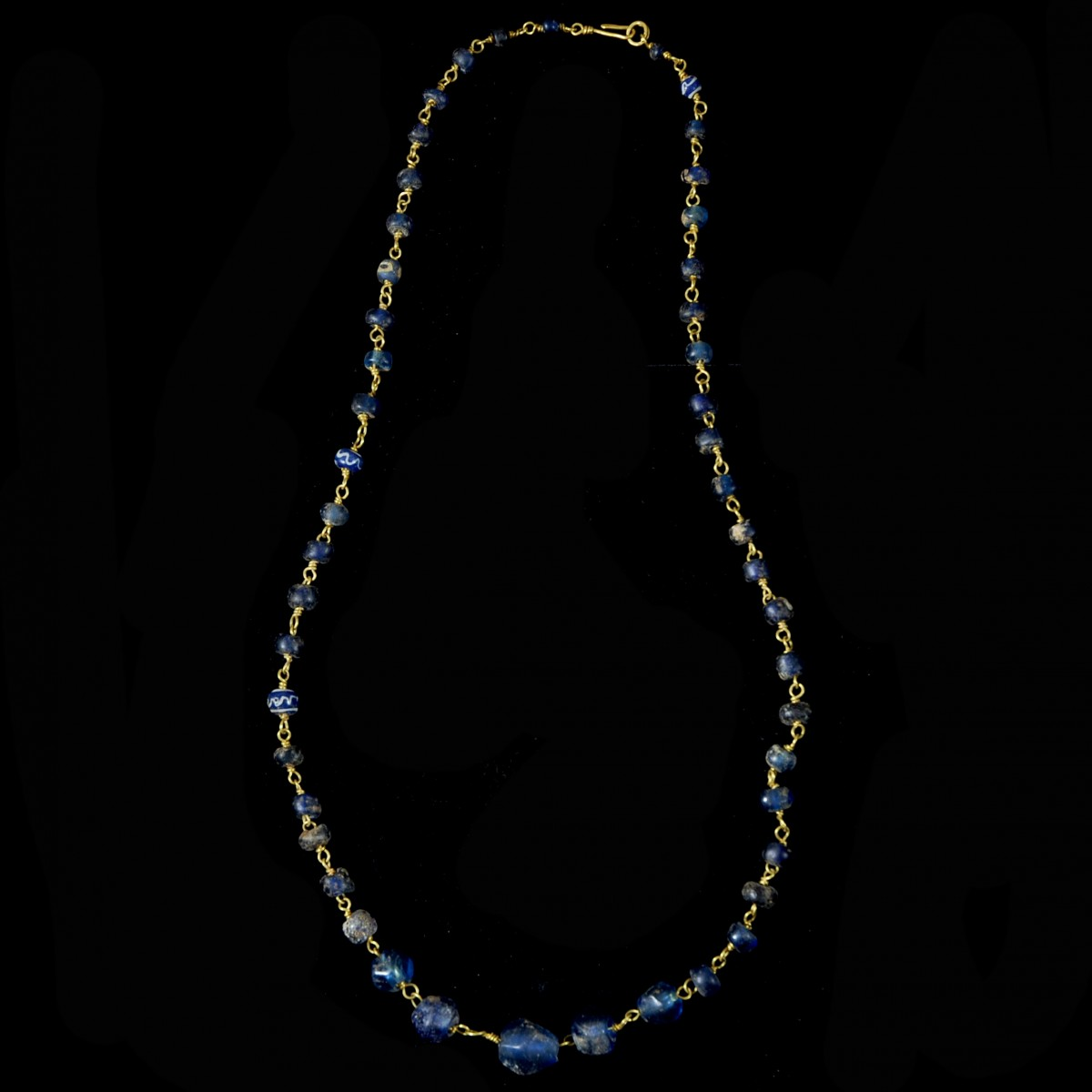 Roman gold necklace blue glass beads