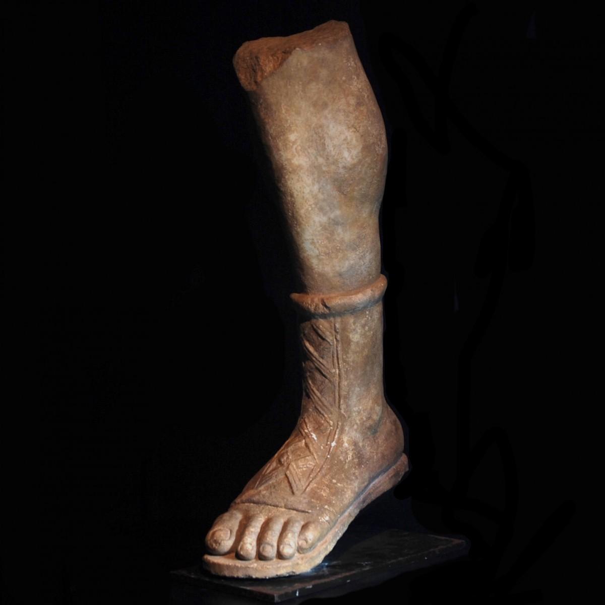 Gallo-Roman limestone leg of Artemis half left