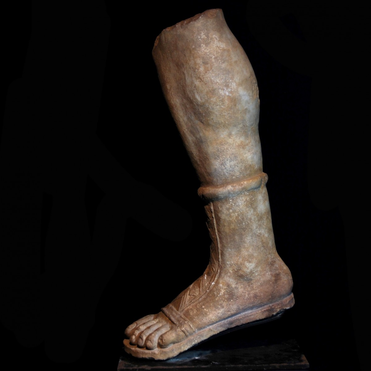 Gallo-Roman limestone leg of Artemis left