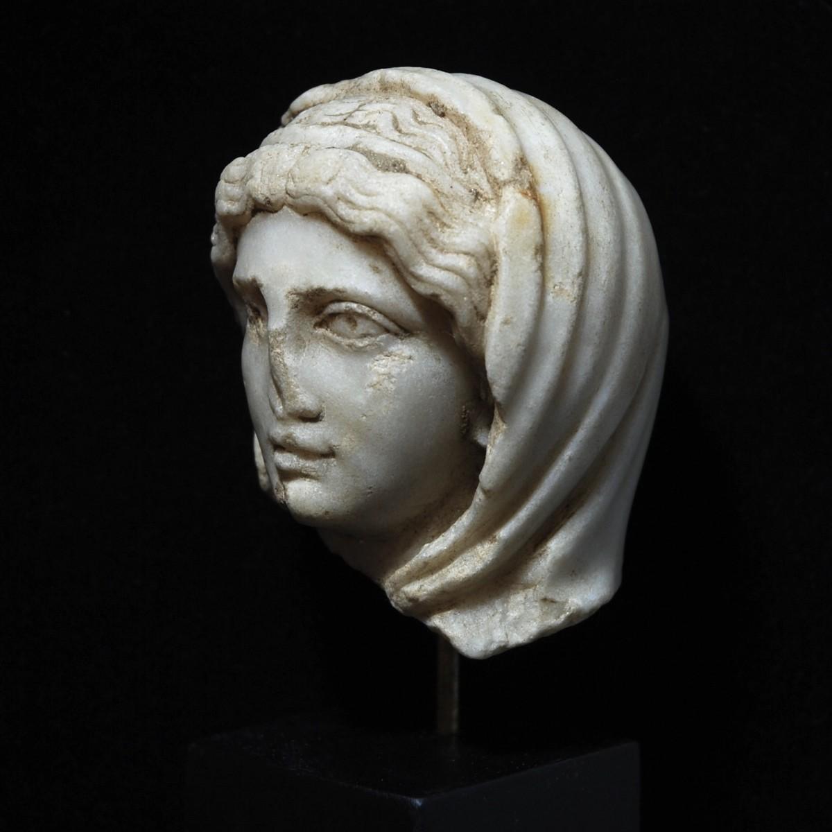 Roman marble head of the pudicitia type half left