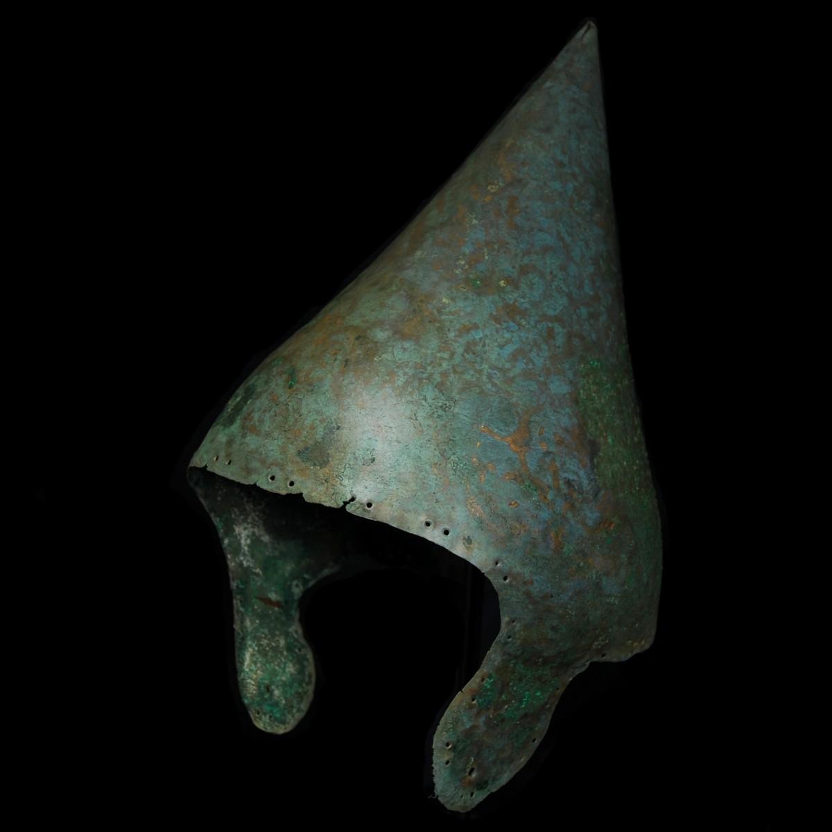 Babylonian Bronze helmet half left