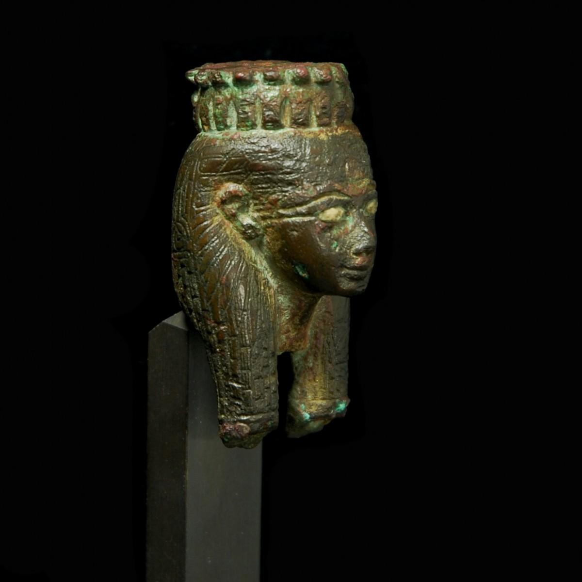 Bronze Head of Hathor half right