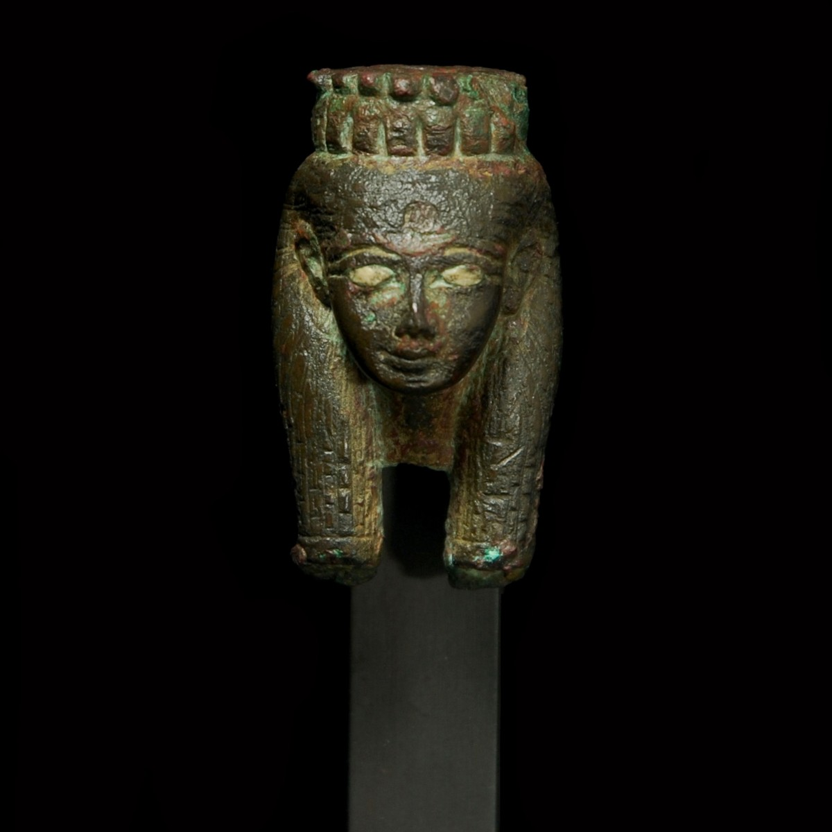 Bronze head of Hathor front