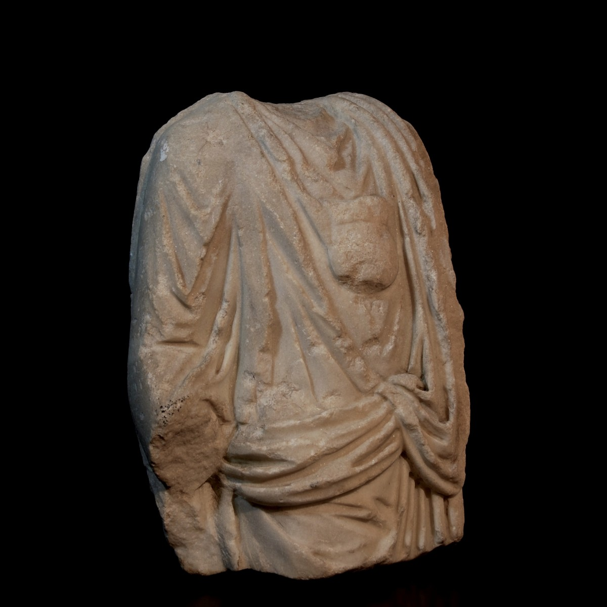 Roman marble togatus with bulla half right