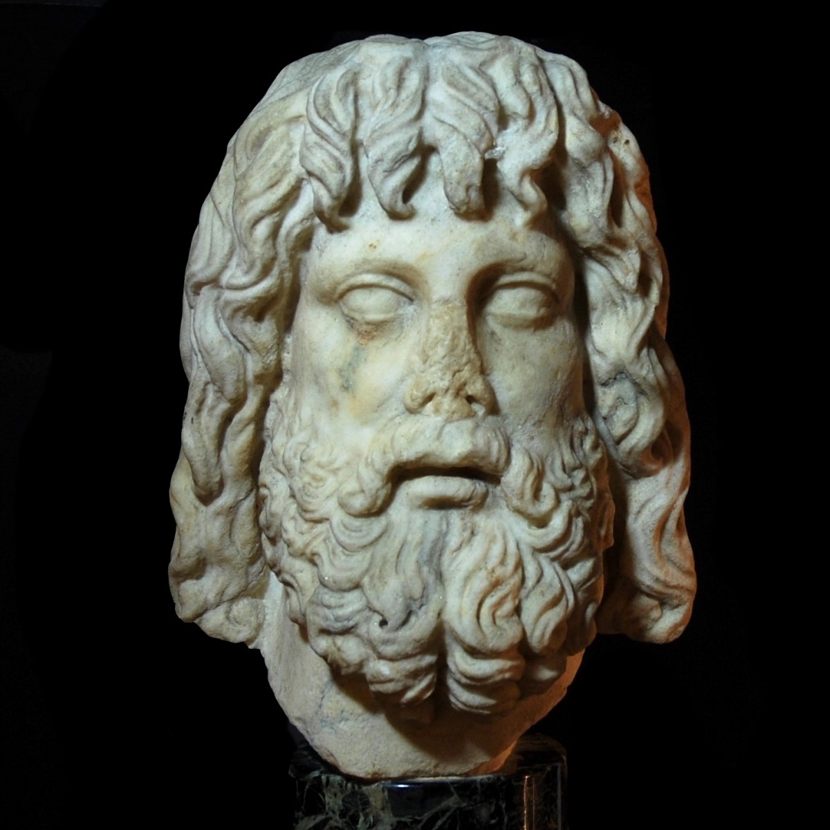 Monumental marble head of Serapis front