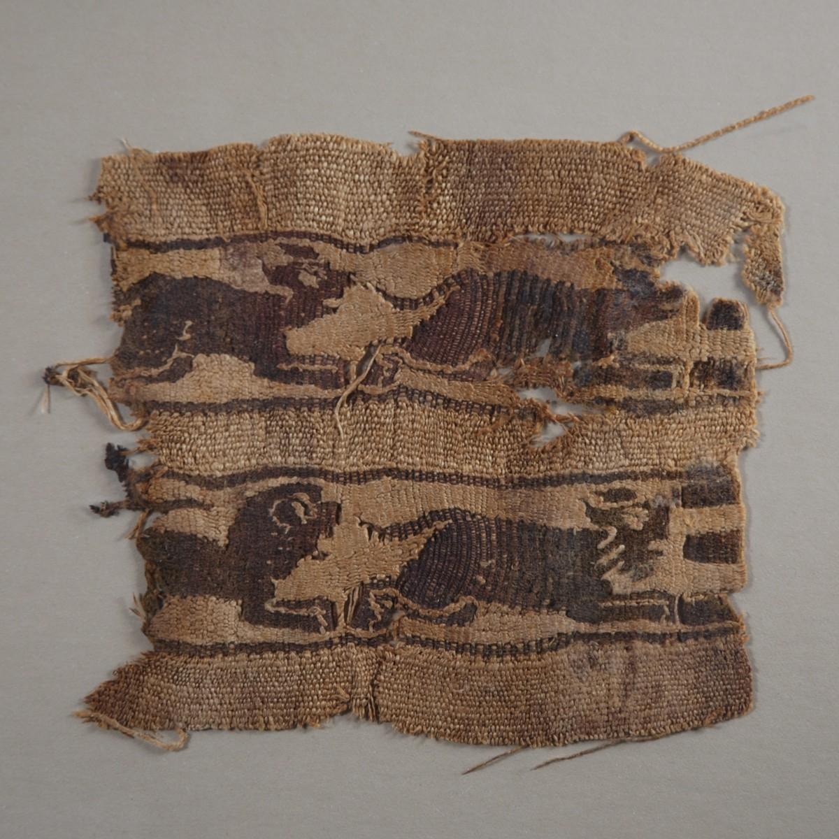 Coptic textile with running animals close