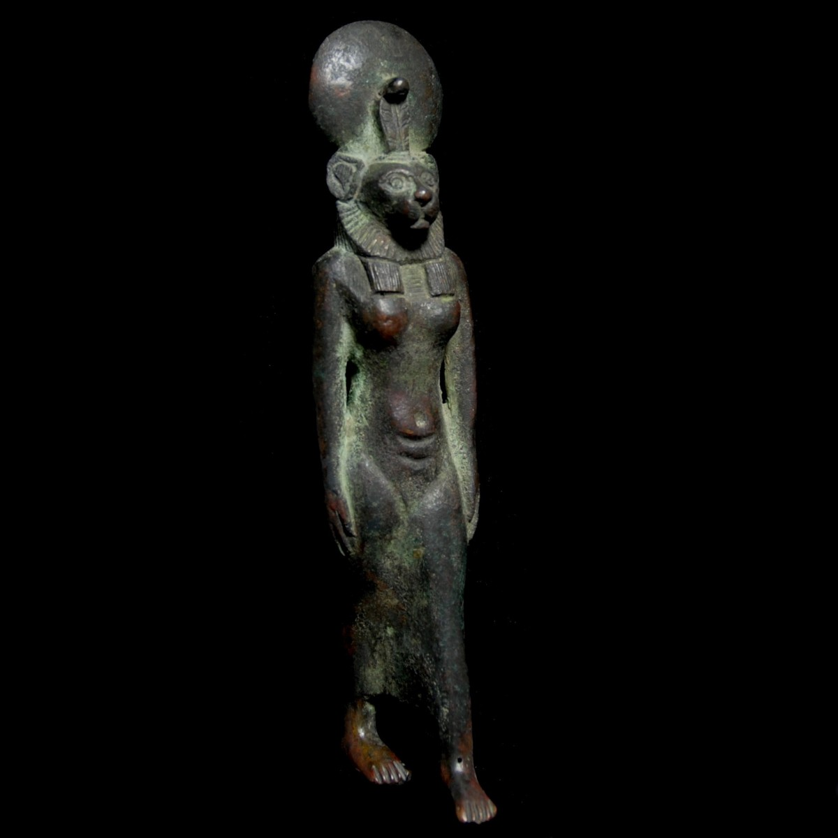 Egyptian bronze statuette of Sekhmet half right