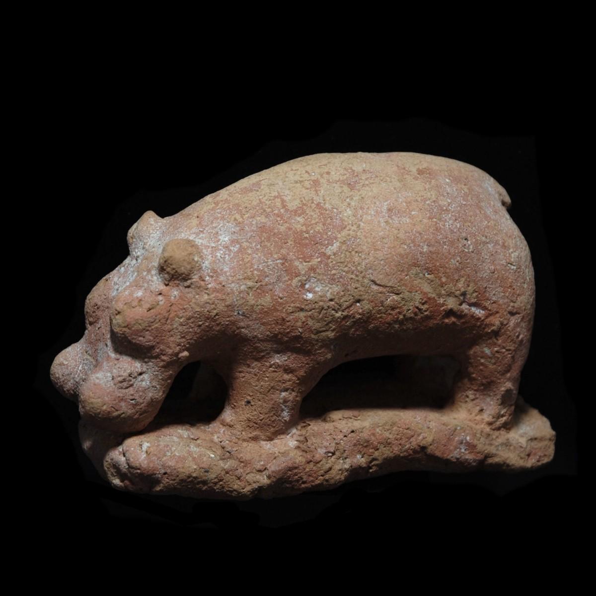 Large Egyptian terracotta hippo left