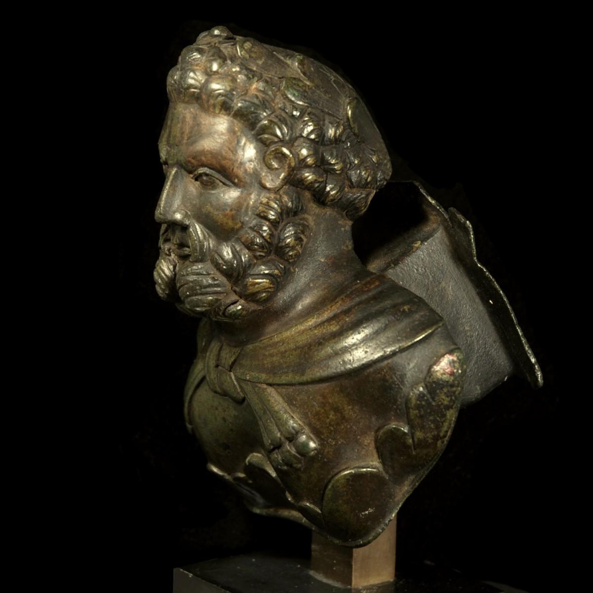 Roman Bronze Bust of Hercules left