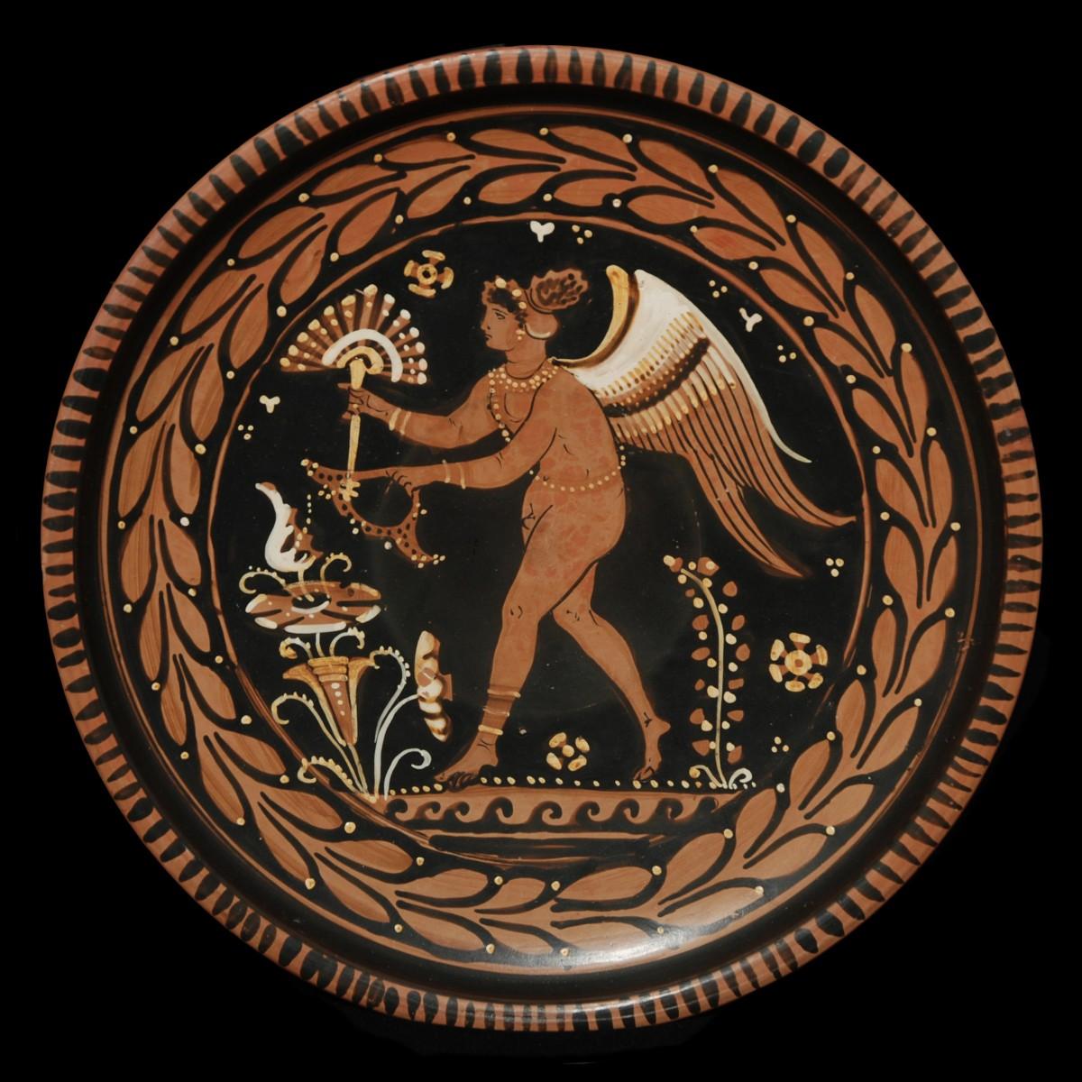 Apulian red-figured plate Menzies Group Eros