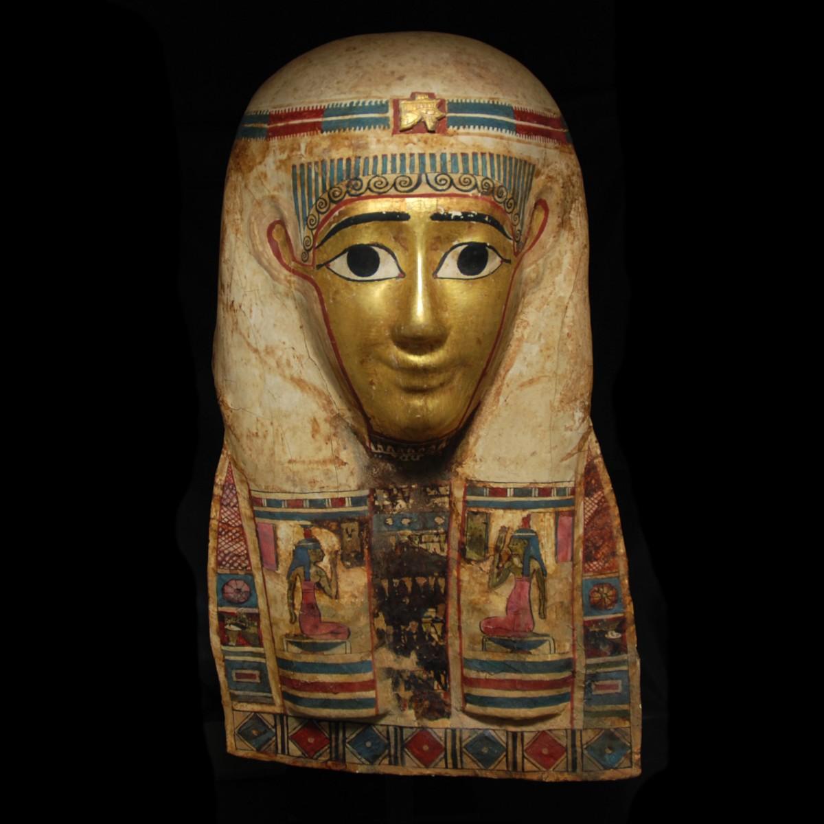 Egyptian gilt cartonngae mummy mask front