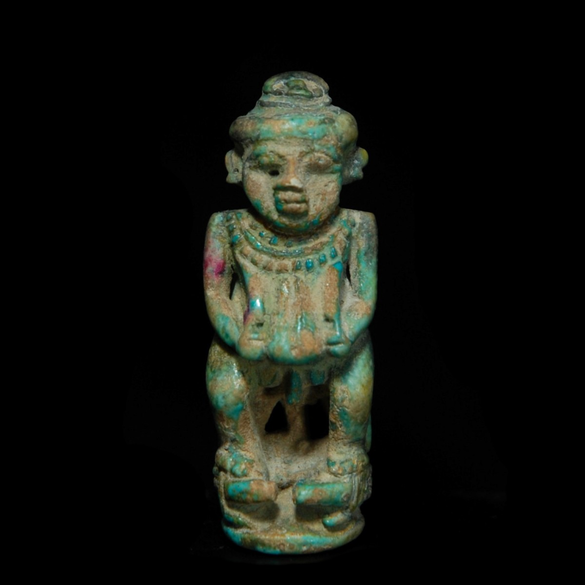 Egyptian glazed composition figure of Pataikos front