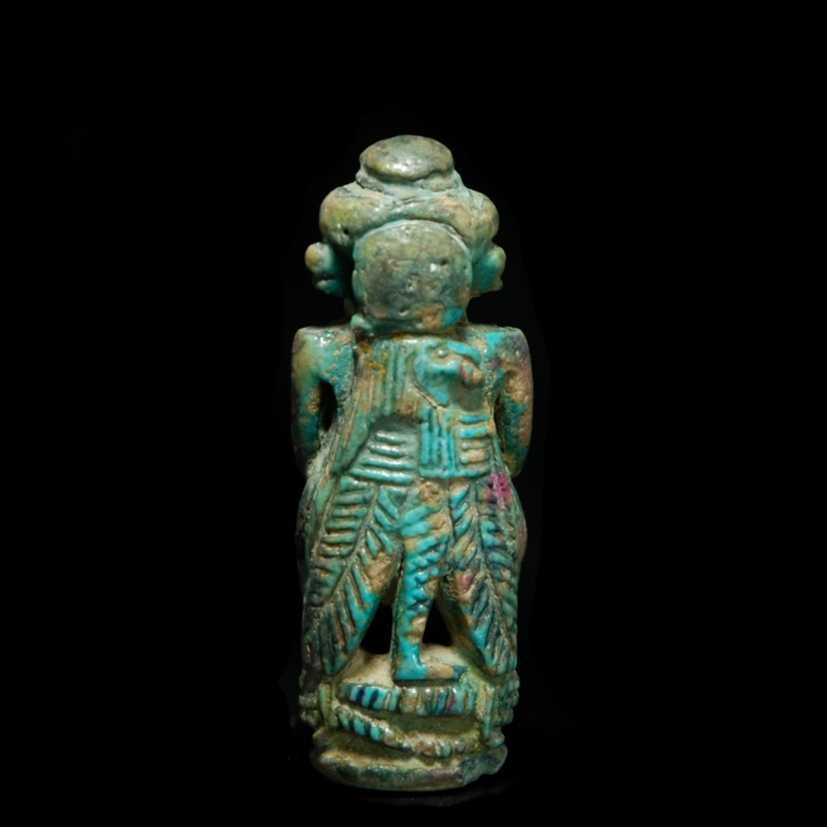Egyptian glazed composition statue of pataikos back