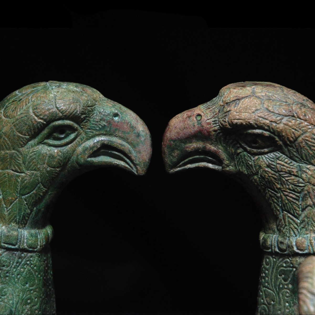 Roman Bronze chariot fitting eagle heads detail