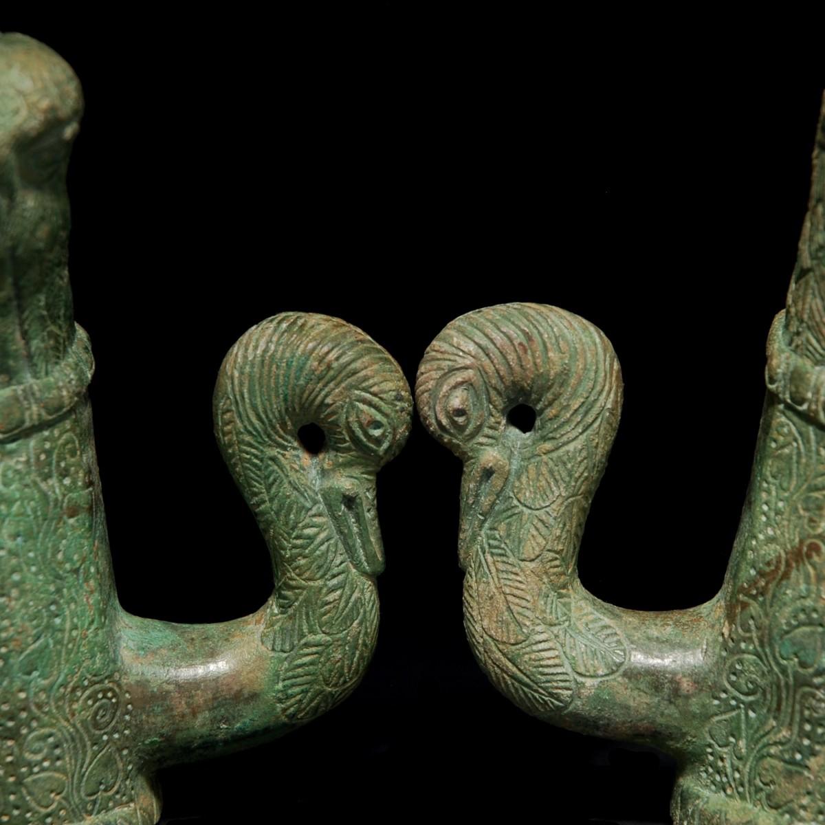 Roman Bronze chariot fitting swan Detail