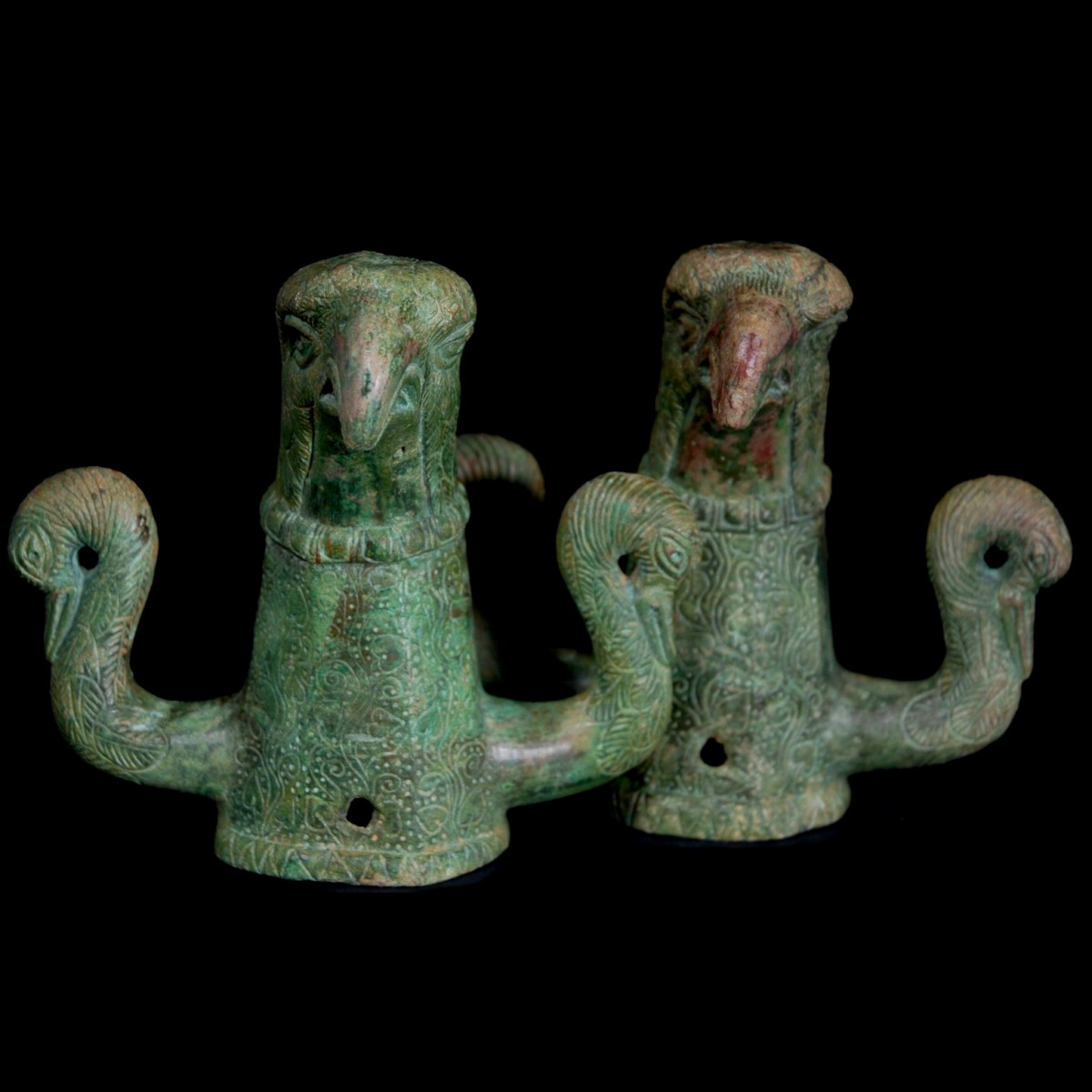 Roman bronze chariot fittings with eagle heads new