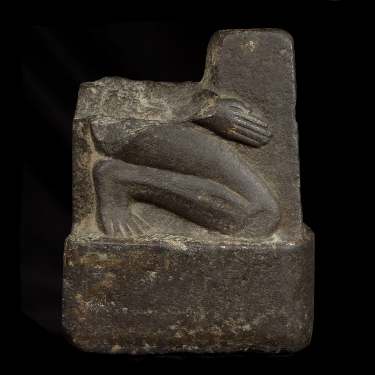 Egyptian Basalt Fragment of a Naophoros right