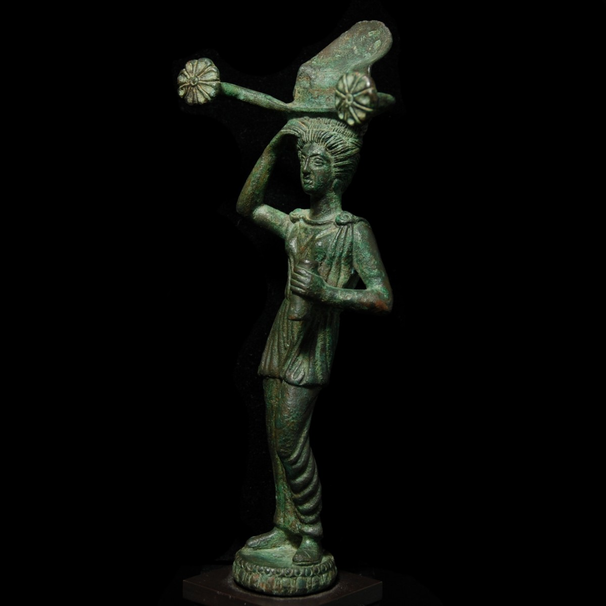 Etruscan bronze patera handle half left