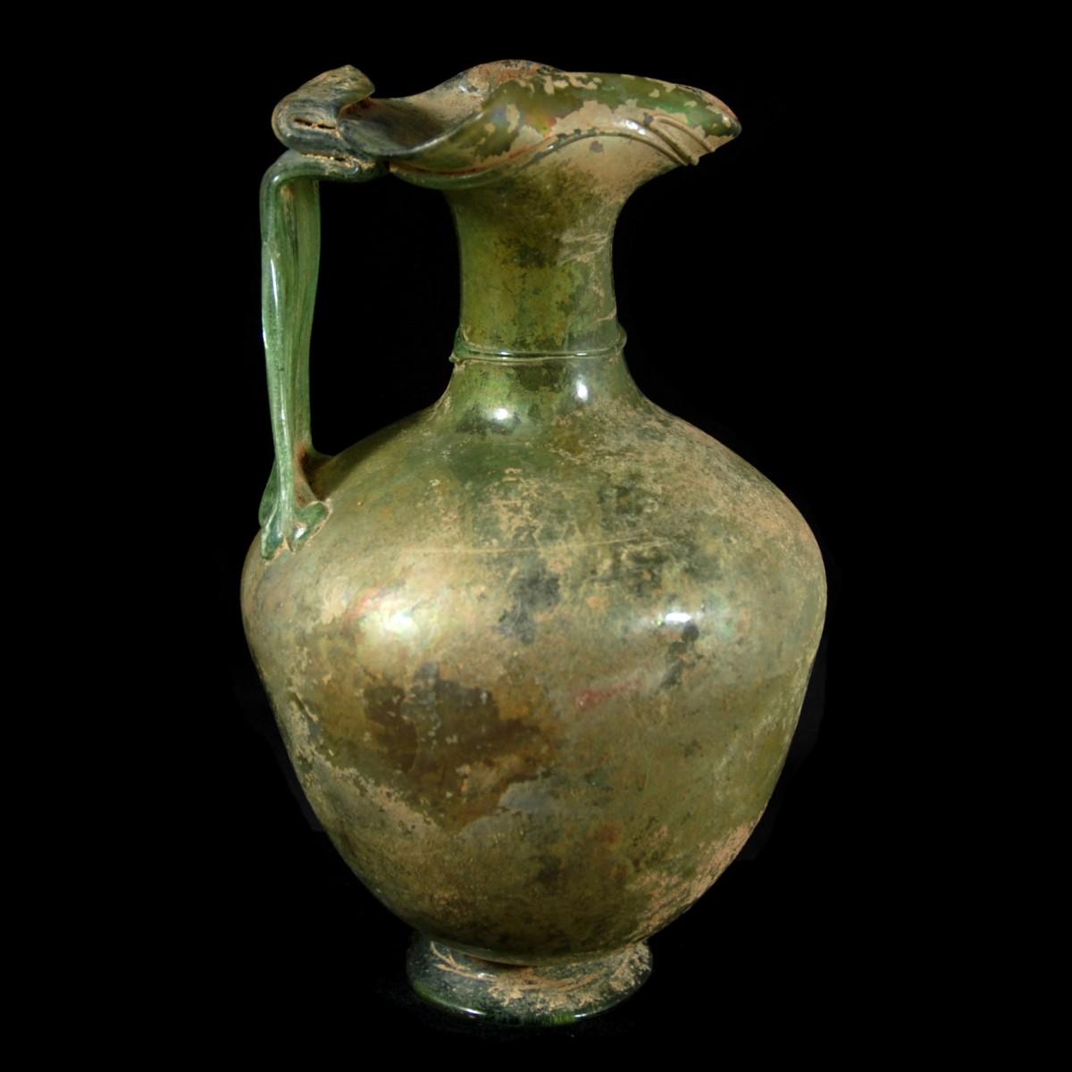 Large Roman glass oinochoe