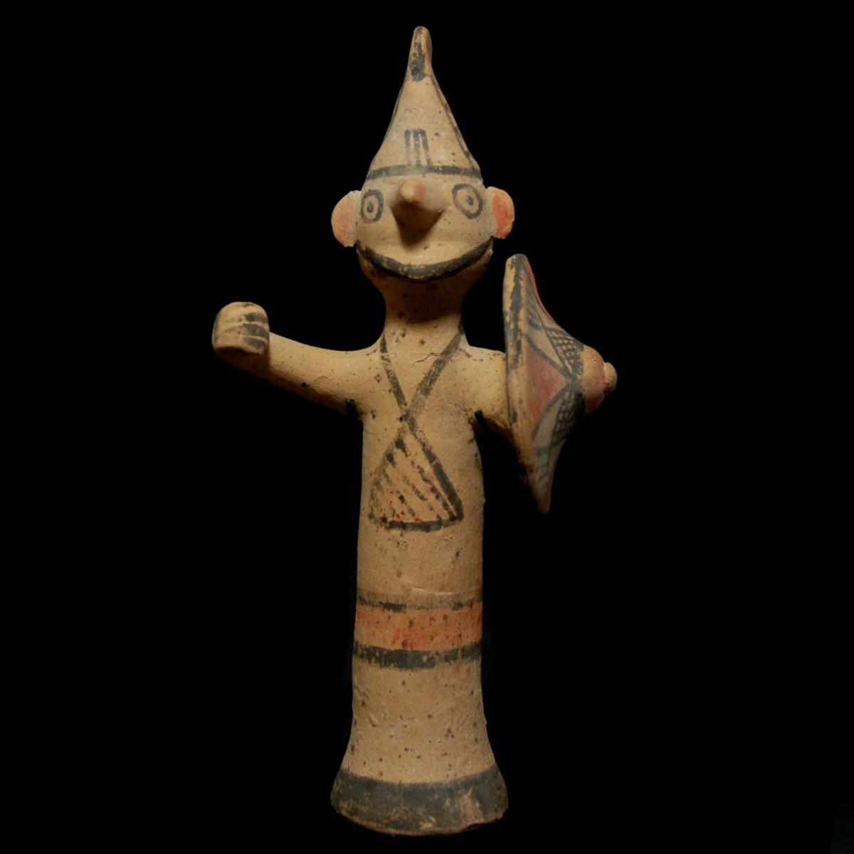 Archaic cypriot terracotta warrior front