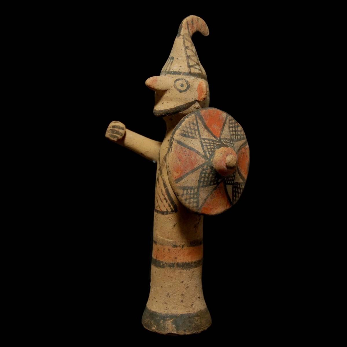 Archaic cypriot terracotta warrior left