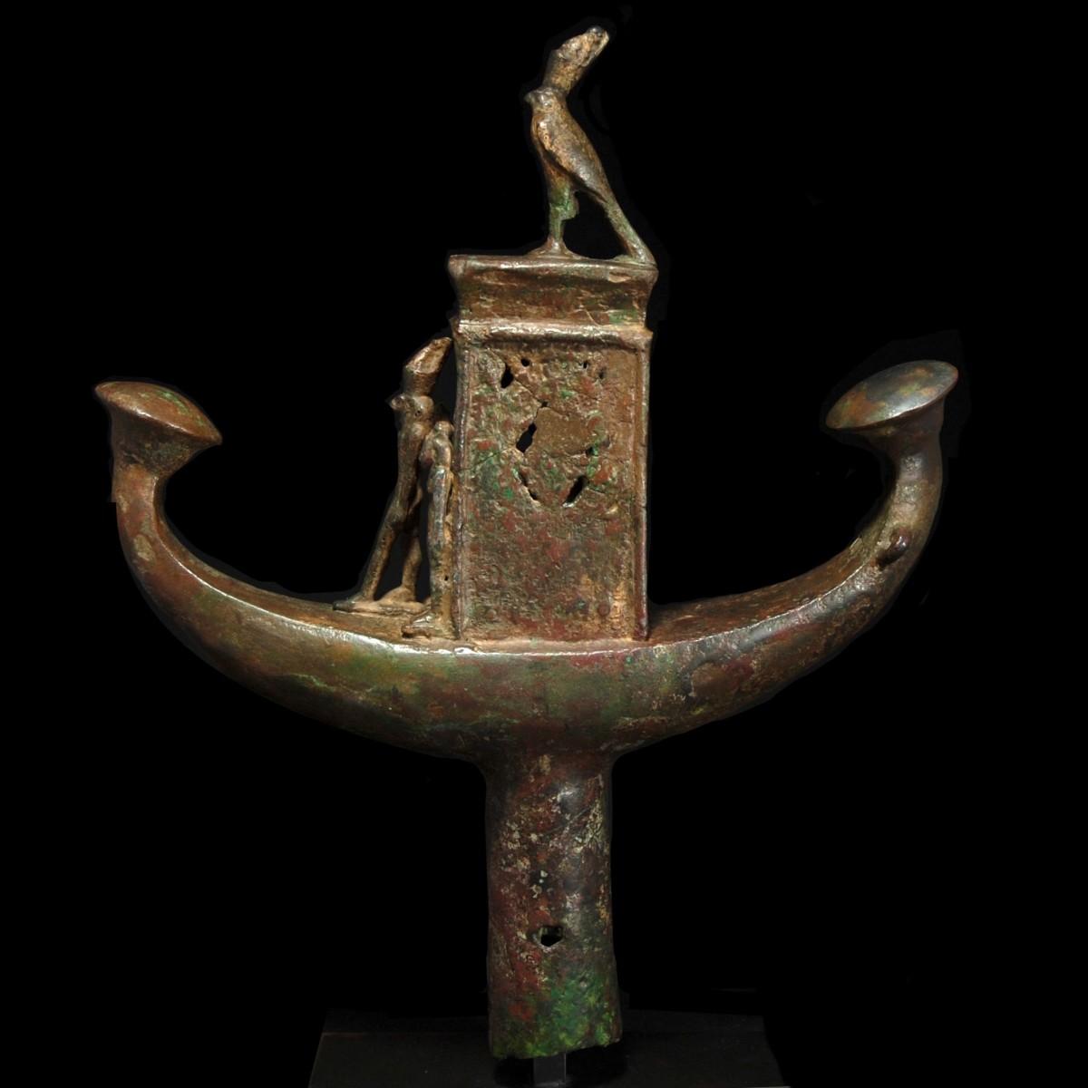 Egyptian bronze sun barque left