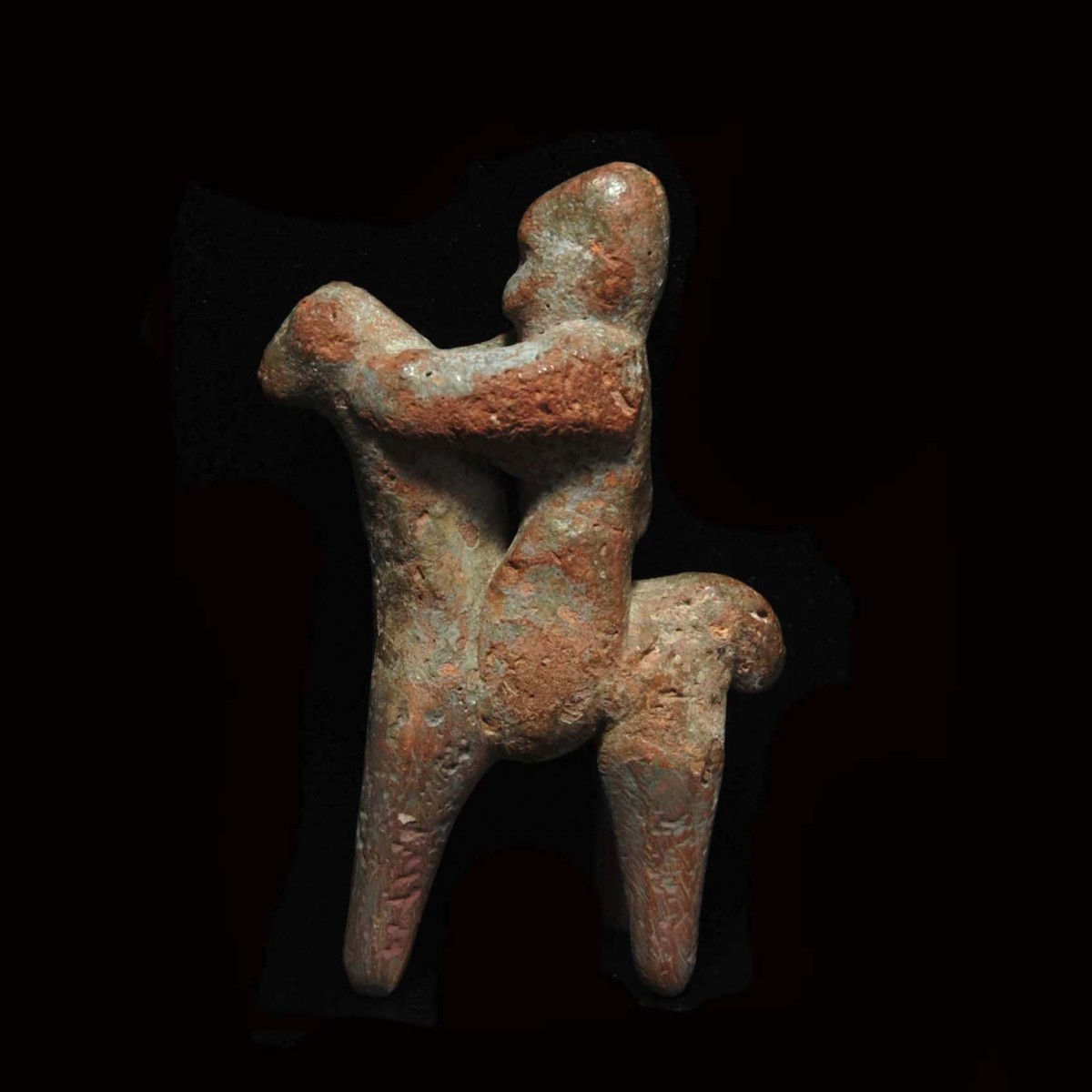 Greek archaic horse and rider full left