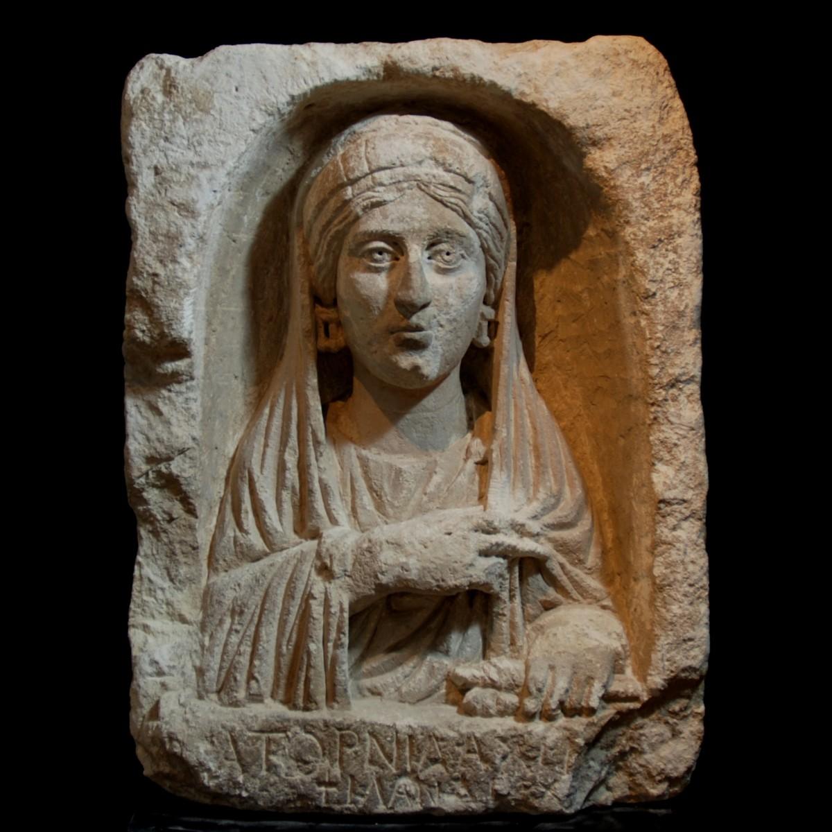 Roman limestone stele of woman Eastern Mediterranean