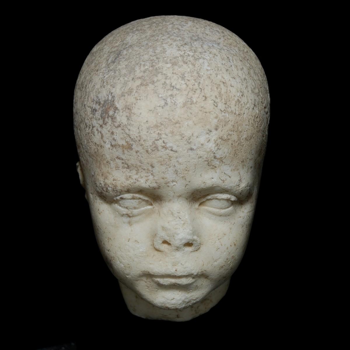 Roman Republican marble head of a boy front