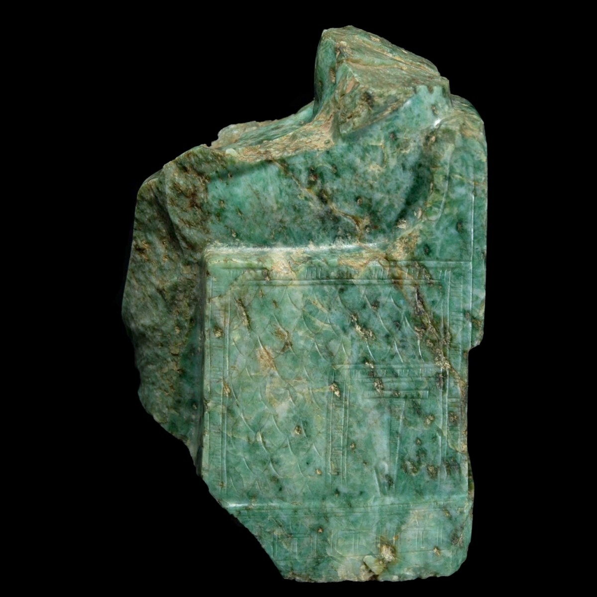 Rare Egyptian gneiss fragment of a seated pharaoh left