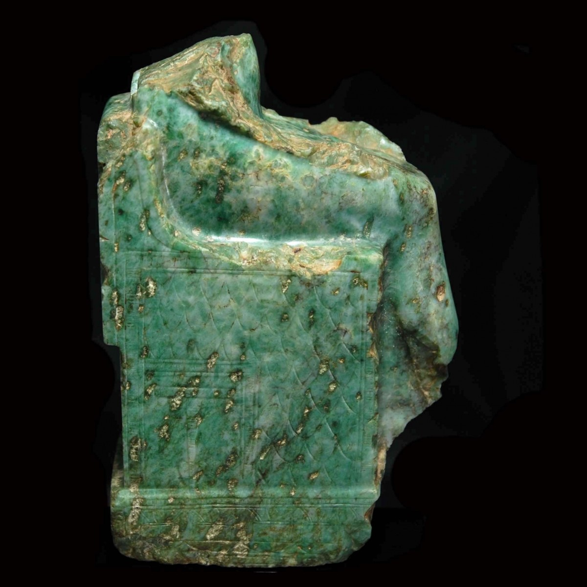 Rare Egyptian gneiss fragment of a seated pharaoh right