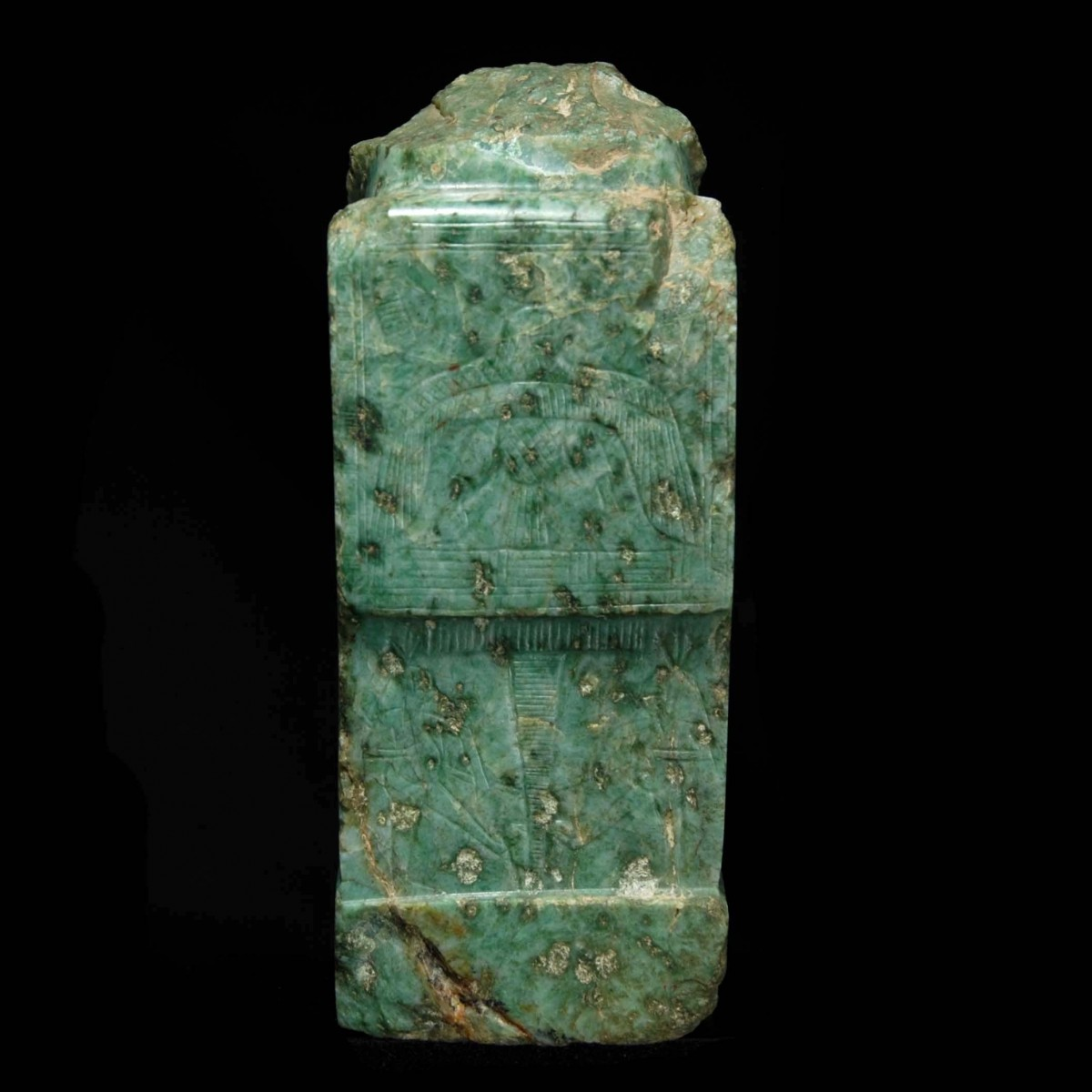 Rare egyptian gneiss fragment of a seated pharaoh back