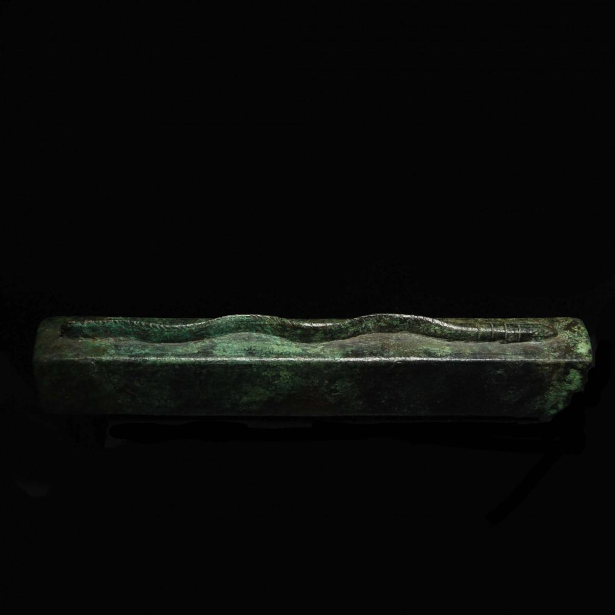 Egyptian bronze snake sarcophagus right