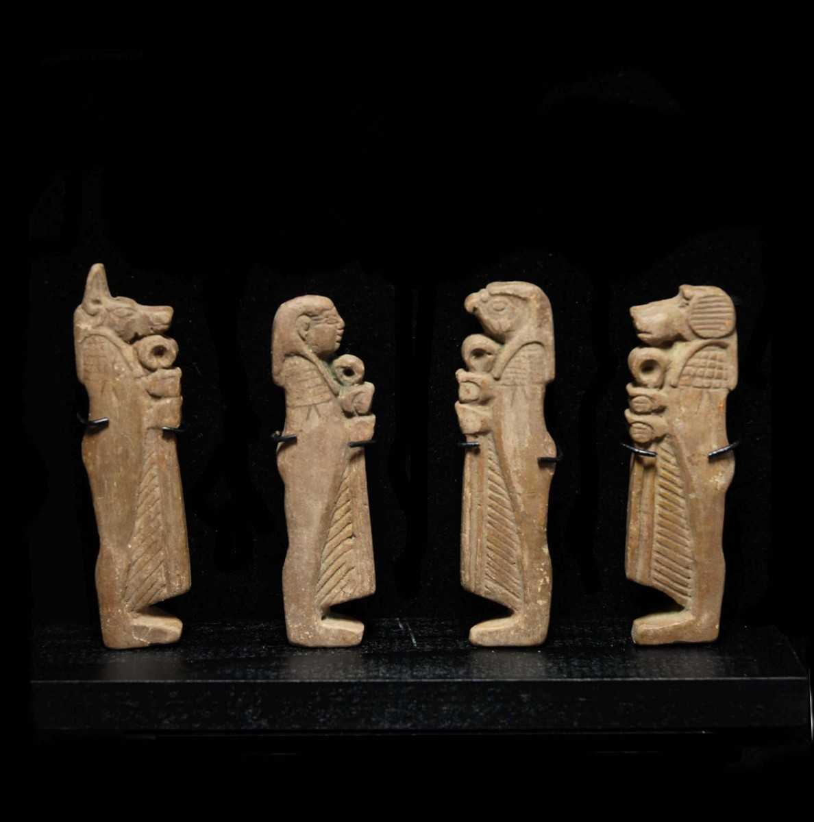 Large Egyptian Fayence Amulets of the Four Sons of Horus