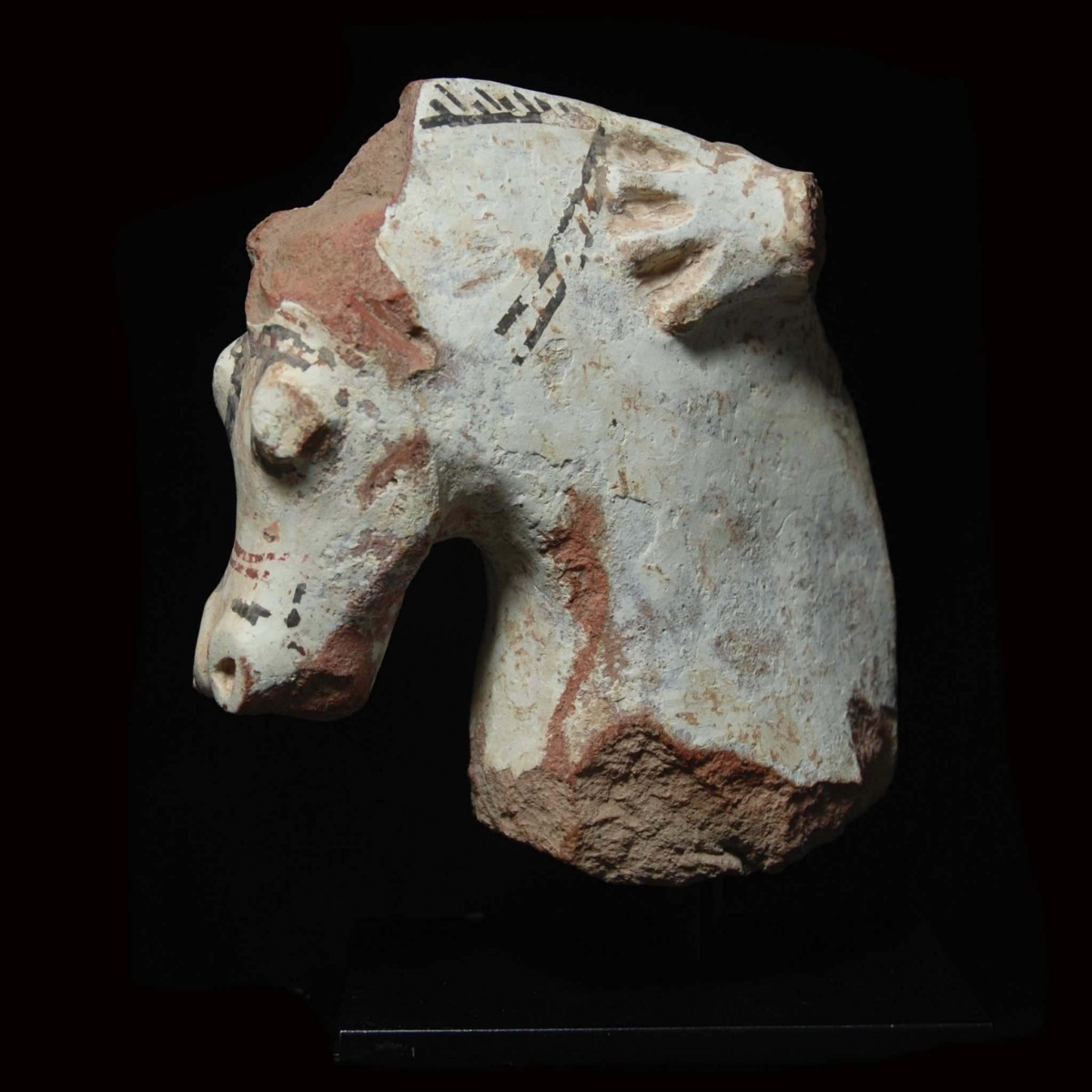 Large Greek terracotta fragment of a horse and rider
