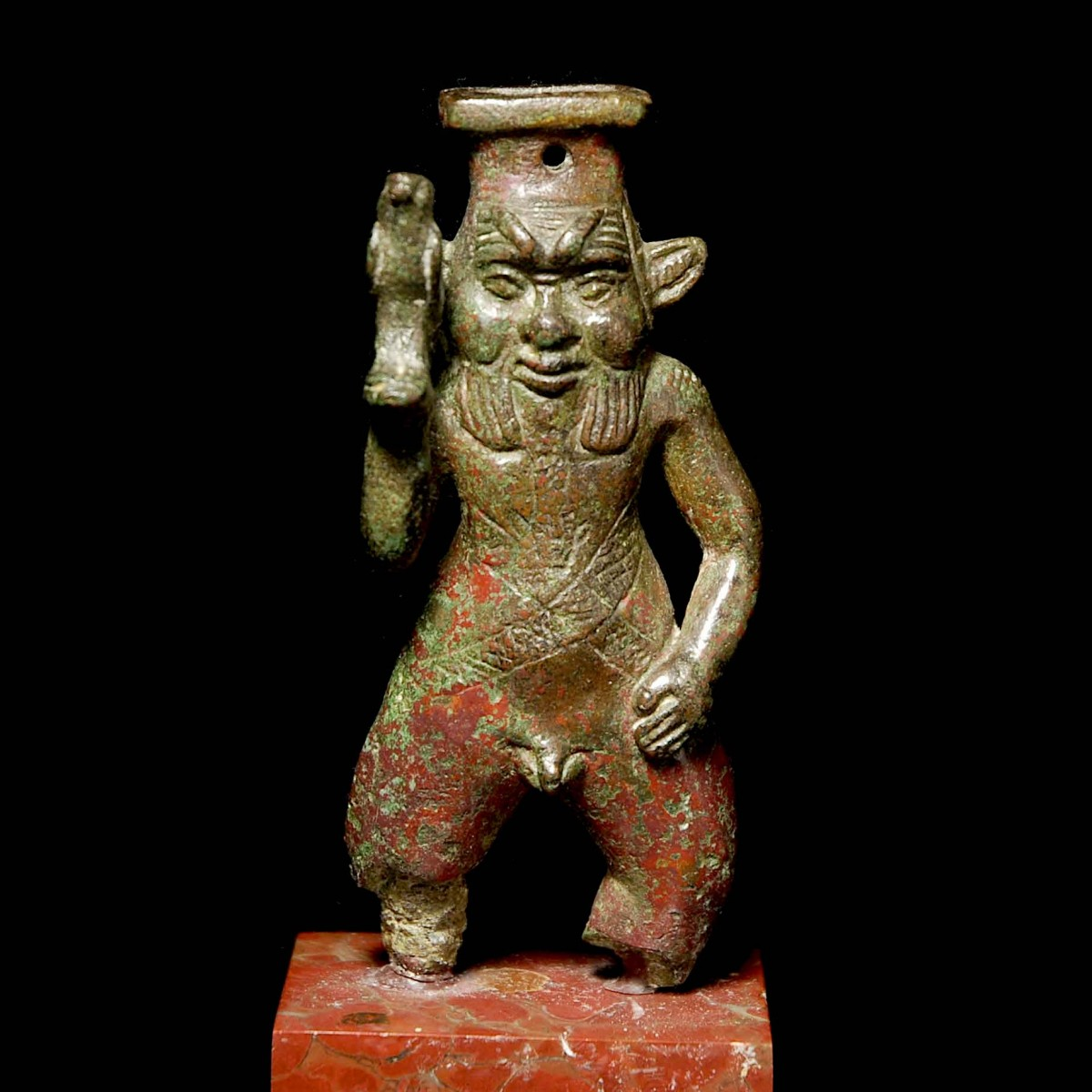 Egyptian Bronze statuette of Bes front
